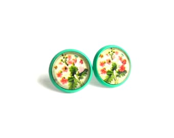 SALE - Floral Stud Earrings - Glass Dome Earrings