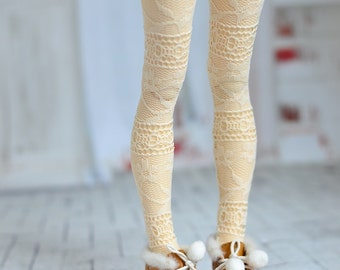 Ivory lace tights for doll 1/4 slim msd minifee