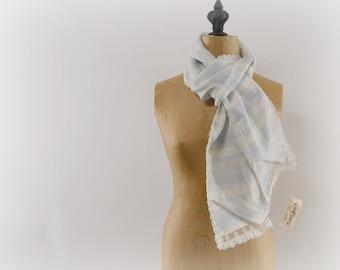 Vintage Blue and White Stripe Linen Victorian Antique Lace Scarf Romantic for High Tea