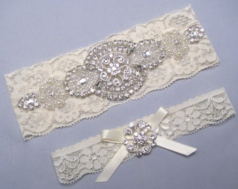 Rhinestone Garter Set, Crystal Pearl Lace Garter, Ivory Bridal Garter, White Garter,  Wedding Garter, Plus Size or Petite Garter Belt