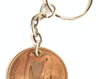 1935 1d Penny Irish Coin Keyring Key Chain Fob 81st Birthday