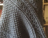 Charcoal grey cabled Fall poncho
