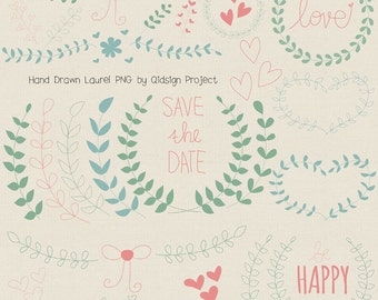 Hand drawn laurel clipart for scrapbooking wedding invitation card making personal and commercial use instant download