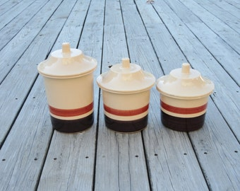 Vintage Kitchen Canisters   Flour And Sugar Canisters   Ceramic Canisters    Retro Canister Set