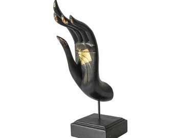 Buddha Mudra Hand Sculpture. Wooden Hand Crafted & Hand Painted from Thailand. (Black with Gold Leaf)