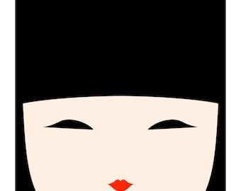 Kokeshi Doll No. 1, Original Art Print, Japanese Doll, Kid's Wall Art, Kid's Room Decor