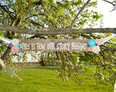 "Rustic ""This is How Our Story Begins"" Pallet Wedding Sign with Burlap Flowers and Satin Ribbon"