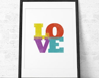 Valentines print  Love print Typographic poster Love art Typographical print valentines present retro print love poster. Lattedesign UK