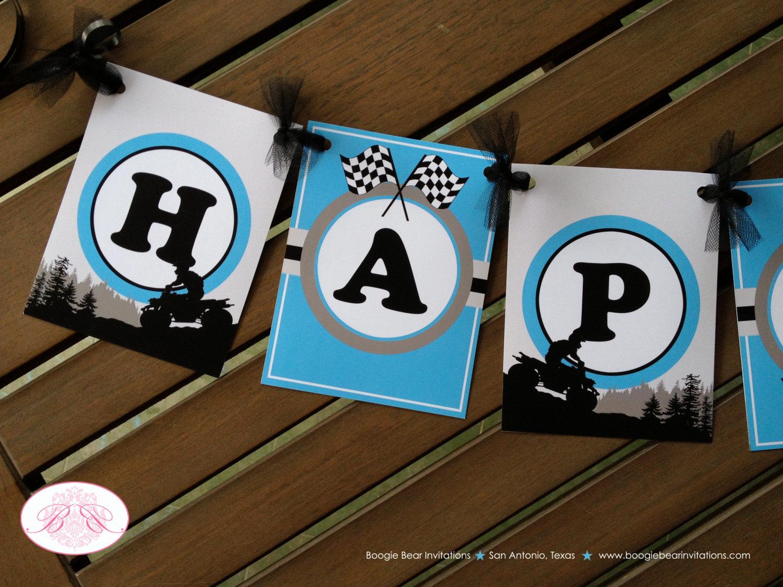 ATV Happy Birthday Party Banner Boy Racing 4 Wheel Blue Grey
