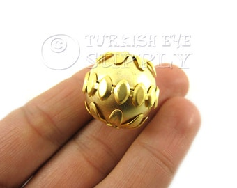Gold Ball Spacer Bead 22K Gold Plated Brass Ball Spacer Bead with Floral Relief