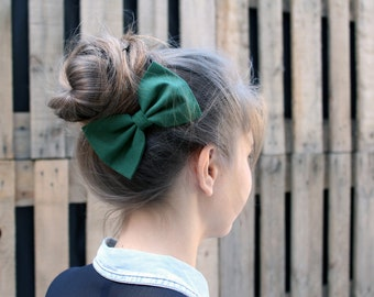 Hunter Green Hair Bow Barette. Green Hair Bow Elastic. Hair Bow Clip.