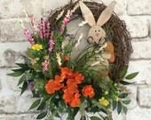 Easter Bunny Wreath, Spring Wreath, Easter Wreath, Easter Decor, Rabbit Wreath, Spring Decor, Silk Floral Wreath, Front Door, Carrot, Etsy