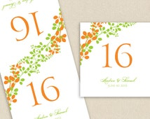 Wedding Table Number Card Template - Instant DOWNLOAD - EDITABLE WORDING - Exquisite Vines (Tangerine & Lime) Foldover - Microsoft Word File