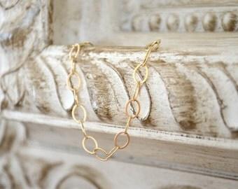 Large Link Gold Filled Chain Bracelet