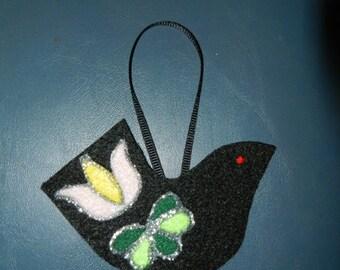 Handmade Pennsylvania Dutch Tulip Distelfink Felt Christmas Ornament