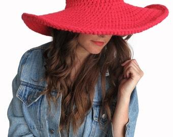 Crochet Floppy Hat Sun Wide Brim Derby Summer Beach Hat // Lola Sun Hat in Poppy // Many Colors Available