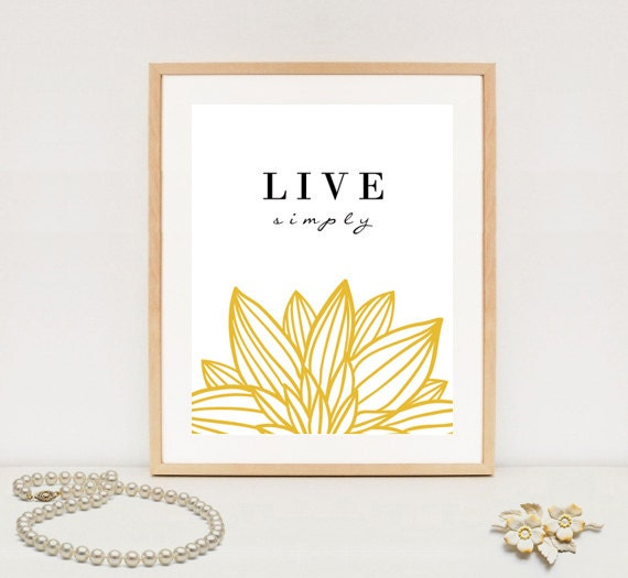 Live simply wall art print digital inspirational quote for Live simply wall art
