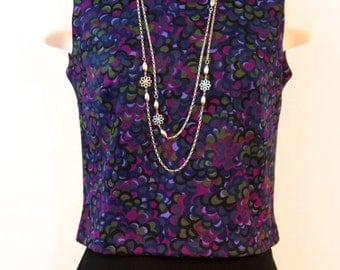 Vintage 1960s Abstract Floral Top