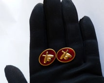 Ruby Red Bowling Cuff Links Vintage Anson Retro 1950s 1960s