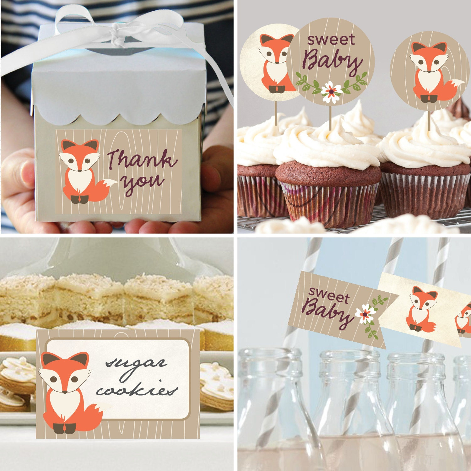 Baby Shower Themes Packages ~ Instant download baby fox theme shower package diy
