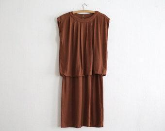 Vintage  Brown Rayon Dress