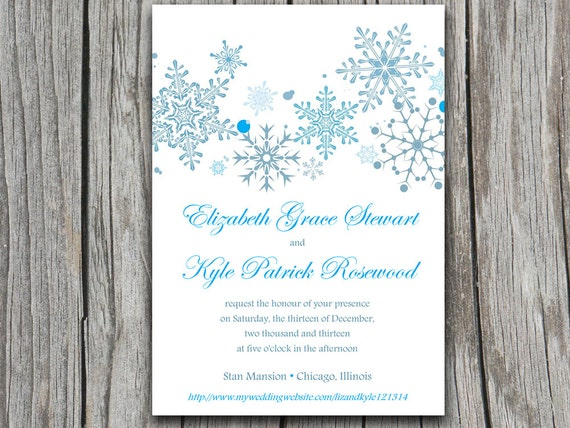 Snowflake Wedding Invitation Template by PaintTheDayDesigns