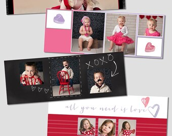 Facebook Valentine's Day Timeline Cover Templates - 4 Pack - Hearts - Chalkboard - Candy - Love Bug
