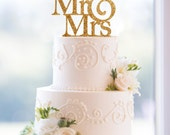 Glitter Mr and Mrs Wedding Cake Toppers in your Choice of Glitter, Elegant Custom Wedding Cake Toppers, Unique Wedding Cake Topper (S001)