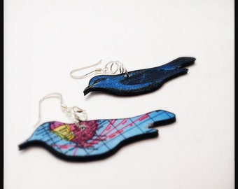 Indigo Bunting Birds Reversible Earrings - Migration Birds In Flight Reversible Dangle Earrings
