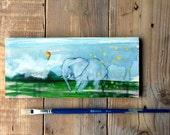 Elephant illustration, kids room decor, original animal art