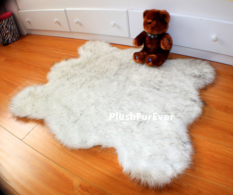 Black Tip Polar Bear White Faux Fur Rug Luxury Plush Shaggy