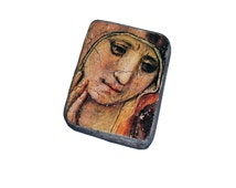 15x11cm wooden icon Madonna in Sorrow,  Sorrowful Mother, Mater Dolorosa, Our Lady Seven Sorrows, Virgin Mary, Maria Virgo. On the old wood.