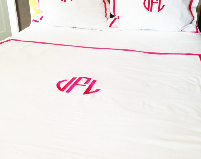 Featured listing image: Monogram Full/Queen Duvet with Ribbon Trim / Monogram Bedding / Comforter