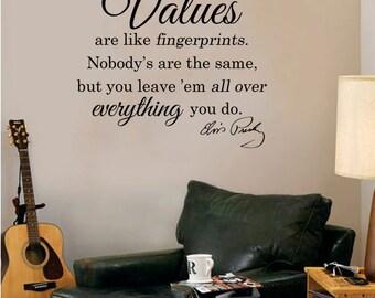 "Elvis Presley-Values are Like Fingerprints-Wall Decal  (24"" X 22"")"