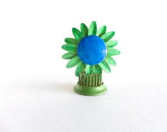 Vintage Enamel Flower Pin, Flower Jewelry, Blue and Green Daisy, Big Flower Brooch