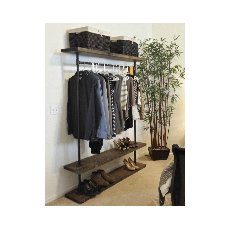 ird triple shelf clothing rack industrial by. Black Bedroom Furniture Sets. Home Design Ideas