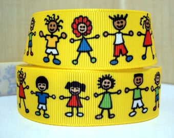 """3 Yards 1"""" Back to School Kids Boys and Girls Yellow Grosgrain Ribbon-Hair bow Supply-printed Ribbon-Sewing-Supplies-"""