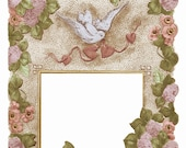 Antique Tinted FLORAL CARD FRAME with clover dove hearts-  Instant Digital download