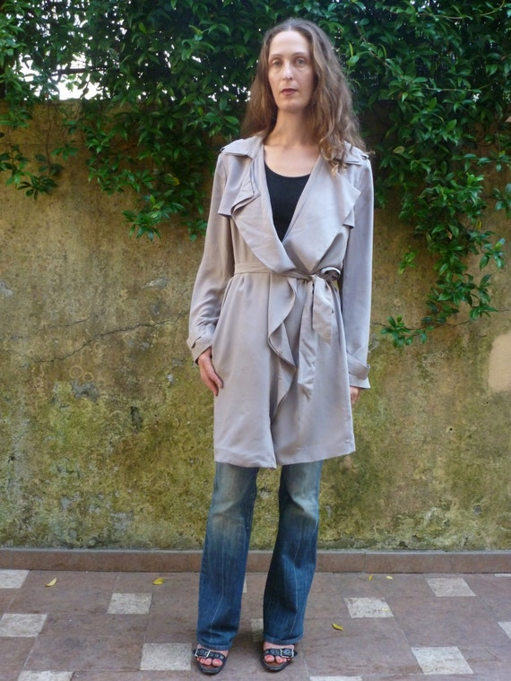 Ann Taylor Sandwashed Silk Grey Trench Coat With Ruffled