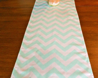 Sale MINT TABLE RUNNER 12 x 48 Mint Chevron Table Runners silver Wedding Showers Decorative Mint Holiday Table Runner Cloth 48 60 72 84 96