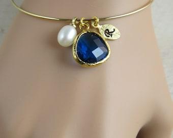 Gold Bangle, Personalized bracelet, customized bangle, personalized bridesmaid bracelet, Capri blue bracelet, minimalist bracelrt