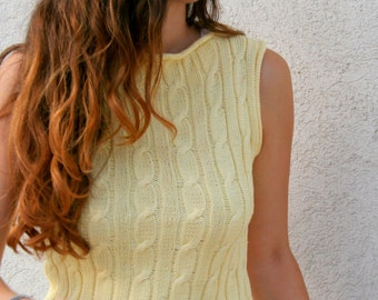 Knit tank top, Cotton Knit Tank Top, Knitted Sweater, Summer top, yellow Top, summer collection, cables knit vest, summer fashion, tank top