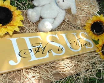"Easter Wooden Sign - Jesus is Risen 6x24"" Custom wood sign"