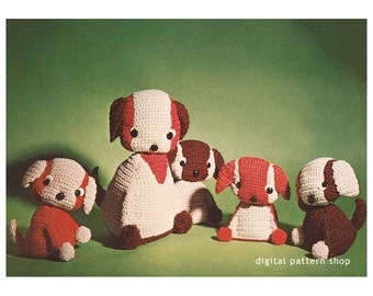 Crochet Pattern Toy Mama Dog & Puppies Crochet Pattern Stuffed Animal Vintage 1970s Amigurumi Pattern C80