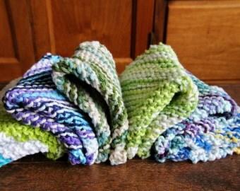 Handmade Cotton Dish Cloths - Knit Wash Cloths - Bath Shower - Various Colors - MADE 2 ORDER