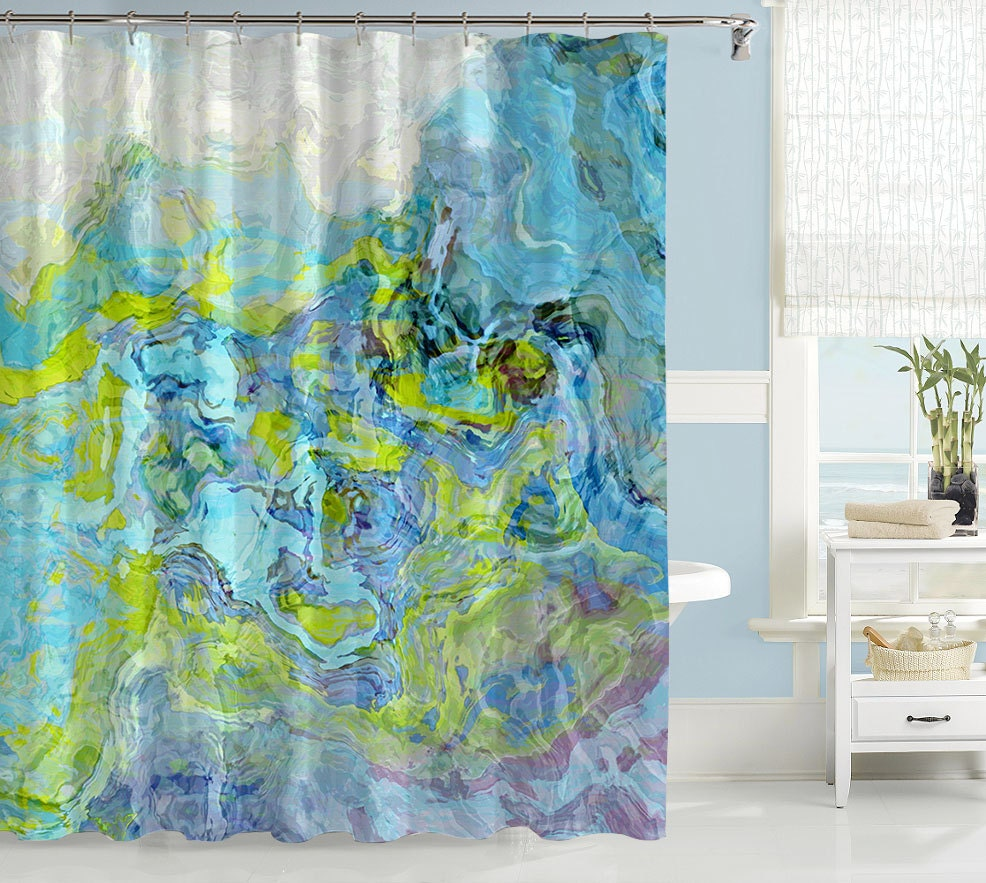 abstract shower curtain contemporary bathroom decor green. Black Bedroom Furniture Sets. Home Design Ideas