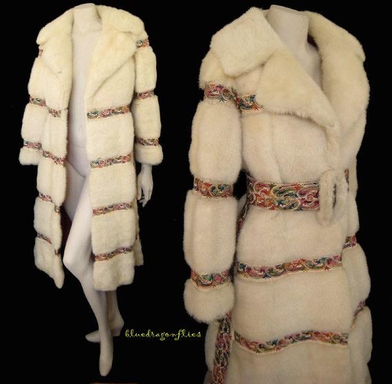 Rockstar Diva Heirloom White Mink Fur Embroidered Leather Coat
