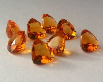 5mm Genuine Brazil Golden Honey Cognac Citrine Trilliant Cut Stones Free Ship