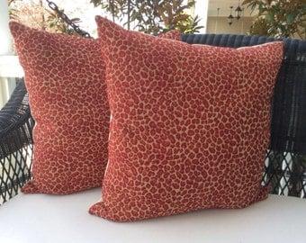 "Cranberry Chenille Leopard Print Pillow cover-22"""