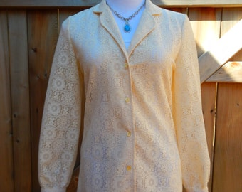Pretty Vintage Women's Lace Blouse by Tumbleweeds Size 8